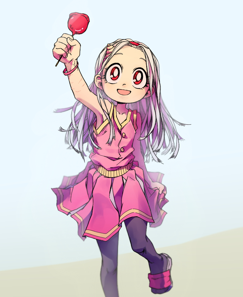 1girl alternate_costume arm_scar arm_up armpits bare_arms bare_shoulders black_legwear blurry boku_no_hero_academia buttons candy_apple child chio-tyan collarbone depth_of_field dress eri_(boku_no_hero_academia) food fruit hairband holding holding_food holding_fruit horn looking_at_viewer pantyhose pink_dress red_eyes sandals scar skirt_grab sleeveless sleeveless_dress smile solo white_hair