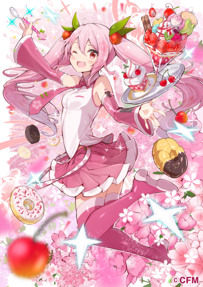 1girl ;d bare_shoulders blurry boots breasts cake cherry cherry_blossoms collared_shirt commentary_request detached_sleeves doughnut flower food fruit fuku_kitsune_(fuku_fox) hair_ornament hatsune_miku long_hair long_sleeves looking_at_viewer miniskirt necktie one_eye_closed open_mouth outstretched_arms parfait pink_flower pink_footwear pink_hair pink_skirt plate pleated_skirt red_eyes sakura_miku shirt skirt slice_of_cake small_breasts smile solo spoon thigh-highs thigh_boots twintails vocaloid watermark white_shirt zettai_ryouiki