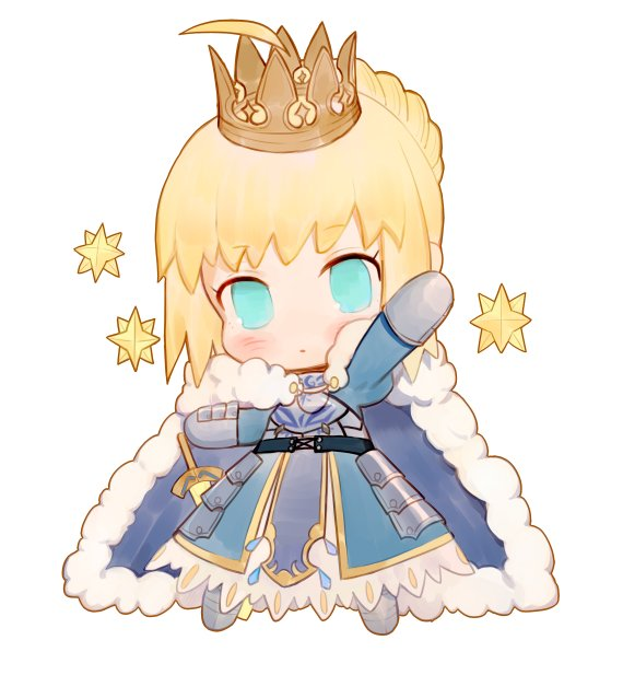 1girl ahoge armor armored_dress artoria_pendragon_(all) blonde_hair blue_dress blue_eyes braid cape chibi crown dress fate/grand_order fate/stay_night fate_(series) faulds full_body fur_trim gauntlets hand_up looking_at_viewer purple_cape rosette_(yankaixuan) saber saint_quartz simple_background solo standing stellated_octahedron white_background
