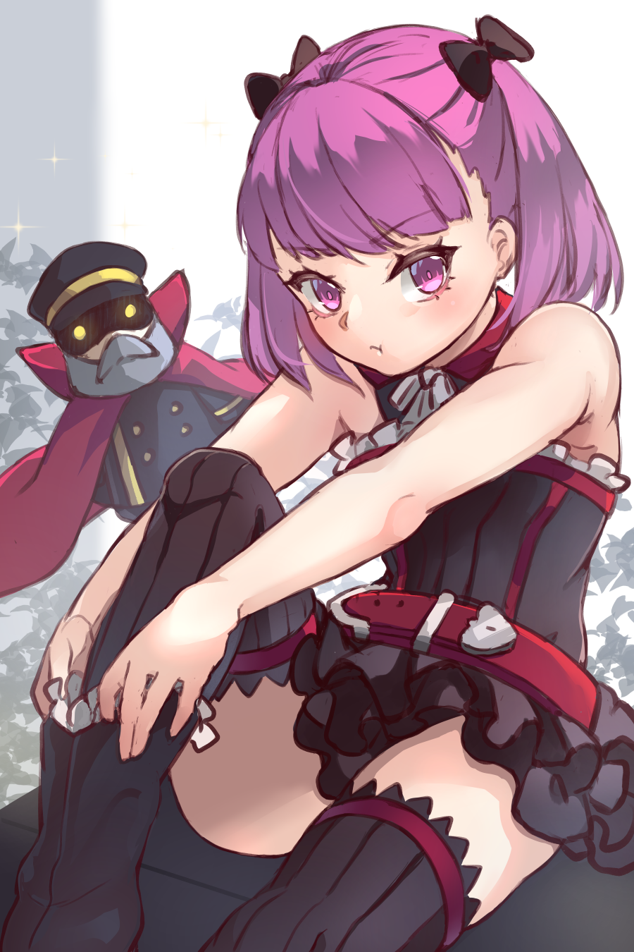 1girl :t bangs bare_arms bare_shoulders belt belt_buckle black_bow black_dress black_footwear black_legwear blush boots bow breasts buckle cape closed_mouth colonel_olcott_(fate/grand_order) commentary_request doll dress dressing eyebrows_visible_through_hair fate/grand_order fate_(series) glowing glowing_eyes hair_bow helena_blavatsky_(fate/grand_order) highres knee_up looking_at_viewer miya_(pixiv15283026) pout purple_hair red_belt red_cape short_hair sitting small_breasts strapless strapless_dress thigh-highs twintails v-shaped_eyebrows violet_eyes