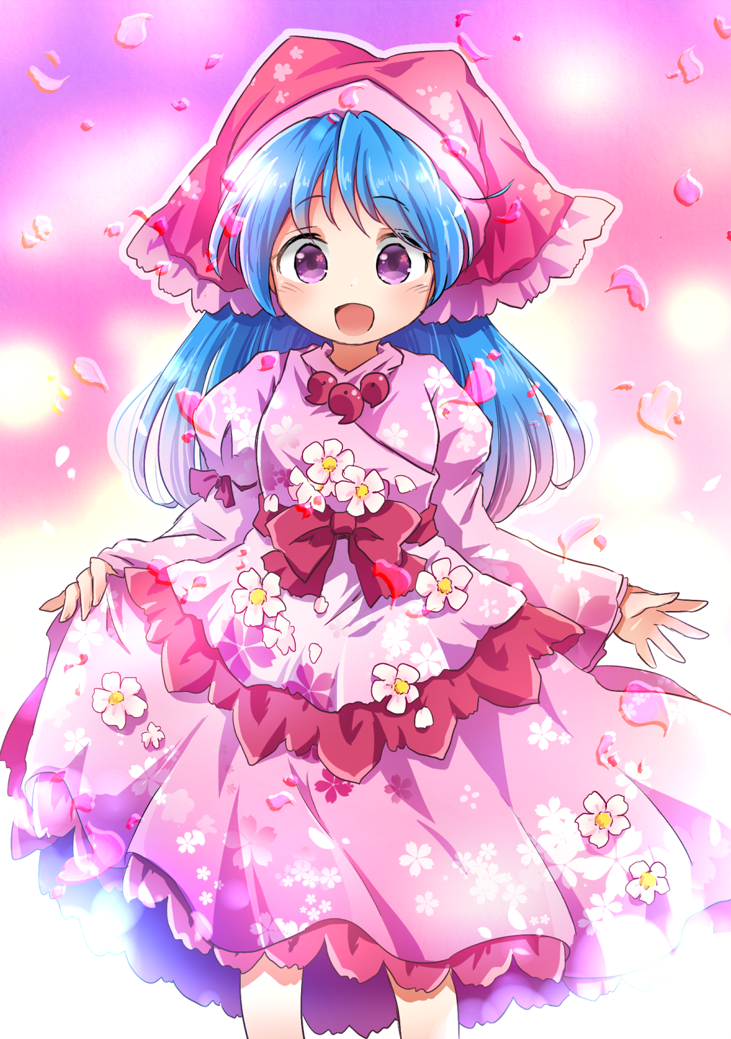 1girl :d alternate_costume arms_up blue_hair bow cherry_blossom_print commentary cropped_legs daisy dress dress_flower eyebrows_visible_through_hair floral_print flower gradient gradient_background haniyasushin_keiki highres hood juliet_sleeves layered_dress long_hair long_sleeves looking_at_viewer magatama magatama_necklace open_mouth petals petticoat pink_background pink_dress pink_headwear pote_(ptkan) puffy_sleeves red_bow sash skirt_hold smile solo spring_(season) standing touhou very_long_hair violet_eyes