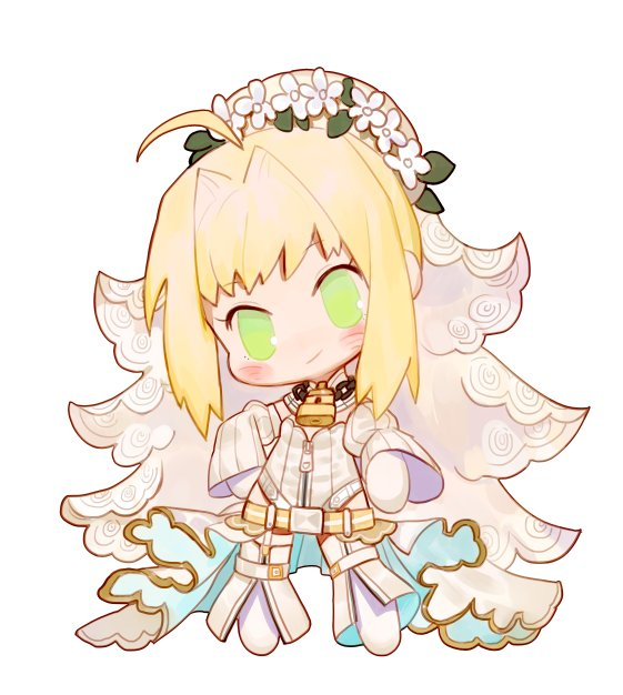 1girl ahoge belt chibi closed_mouth daisy dress fate/extra fate/extra_ccc fate_(series) flower full_body green_eyes hair_flower hair_intakes hair_ornament head_tilt head_wreath leotard lock long_sleeves looking_at_viewer nero_claudius_(bride)_(fate) nero_claudius_(fate)_(all) padlock pantyhose rosette_(yankaixuan) smile solo standing white_flower