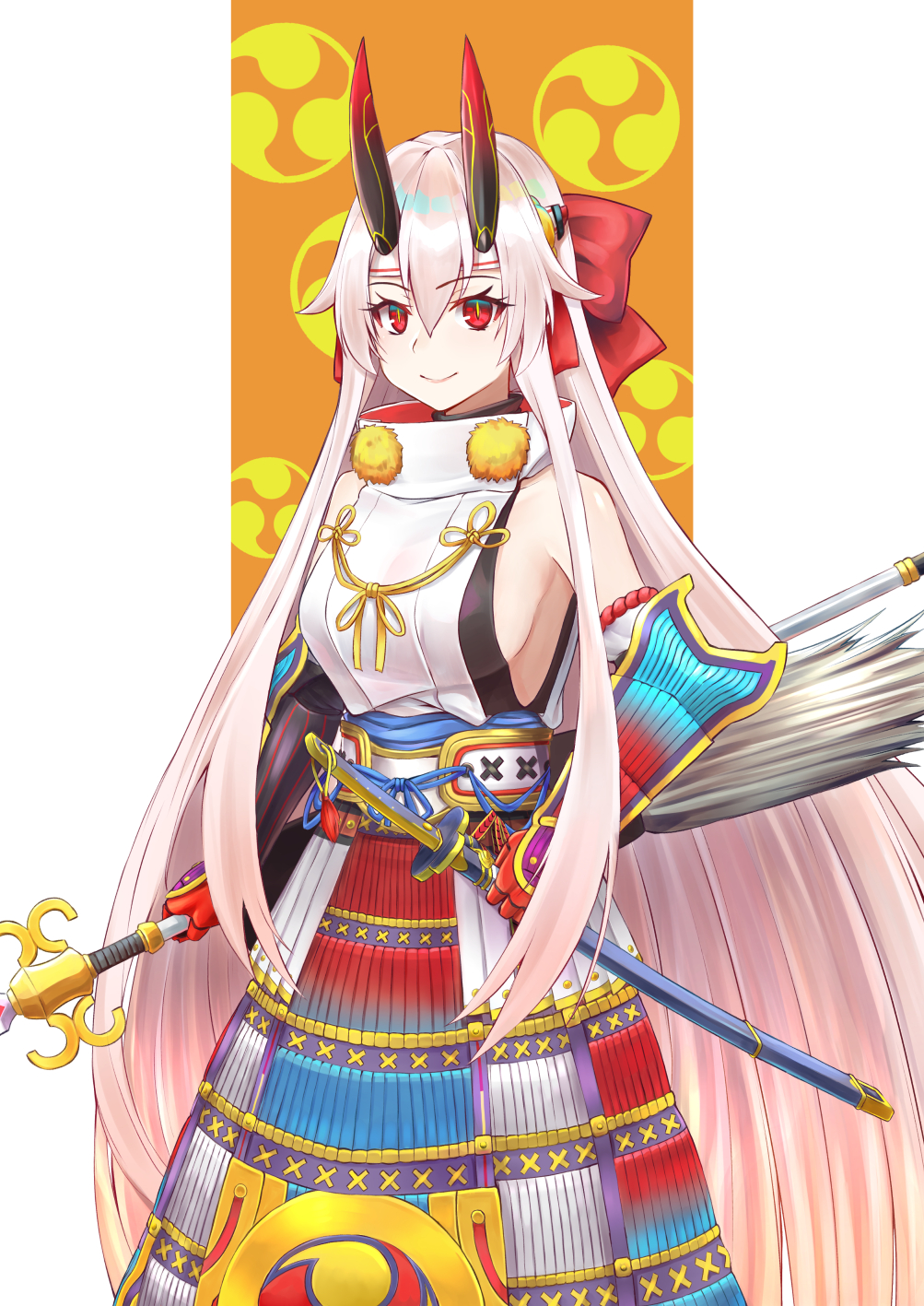 1girl armor bare_shoulders bow breasts detached_sleeves fate/grand_order fate_(series) hair_between_eyes hair_bow headband highres holding holding_polearm holding_sword holding_weapon japanese_armor katana kote kusazuri large_breasts long_hair mitsudomoe_(shape) motsushi oni_horns polearm red_bow red_eyes red_horns scabbard sheath sheathed sideboob silver_hair sleeveless slit_pupils smile solo sword tomoe_(symbol) tomoe_gozen_(fate/grand_order) very_long_hair weapon white_headband