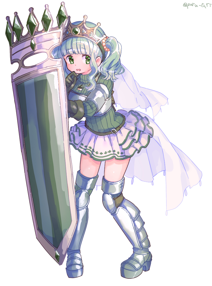 1girl armor armored_boots bangs belt black_gloves blunt_bangs boots cape curly_hair dot_nose eyebrows_visible_through_hair finger_to_mouth full_body furrowed_eyebrows futaba_sana gloves green_eyes green_hair green_theme holding holding_shield jewelry knee_pads layered_skirt legs_apart long_sleeves looking_to_the_side magia_record:_mahou_shoujo_madoka_magica_gaiden mahou_shoujo_madoka_magica necklace nervous parted_lips paru_rari pearl_(gemstone) pearl_hair_ornament ribbed_sweater shield shiny shiny_hair shiny_skin shirt sidelocks simple_background skirt solo soul_gem standing sweater thigh-highs thigh_boots thighs tiara turtleneck turtleneck_sweater twintails twitter_username veil waist_cape white_background white_skirt zettai_ryouiki