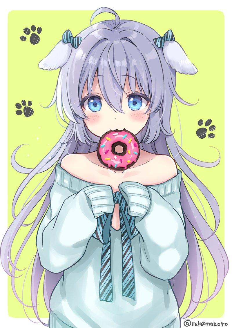 1girl :3 ahoge animal_ears aqua_bow aqua_neckwear aqua_shirt bangs blue_eyes blush bow commentary_request dog_ears doughnut ear_ribbon food green_background grey_hair hair_between_eyes long_hair looking_at_viewer mouth_hold neck_ribbon off-shoulder_shirt off_shoulder original paw_print_background ribbon sakurai_makoto_(custom_size) shii-chan_(sakurai_makoto_(custom_size)) shirt simple_background sleeves_past_fingers sleeves_past_wrists solo striped striped_bow striped_neckwear twitter_username upper_body