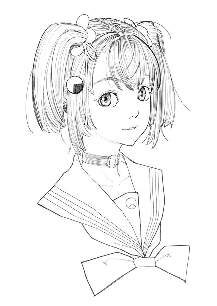 1girl choker copyright_request dan_evan greyscale hair_ornament hair_ribbon looking_at_viewer monochrome o-ring o-ring_choker parted_lips ribbon school_uniform serafuku simple_background smile solo twintails upper_body white_background