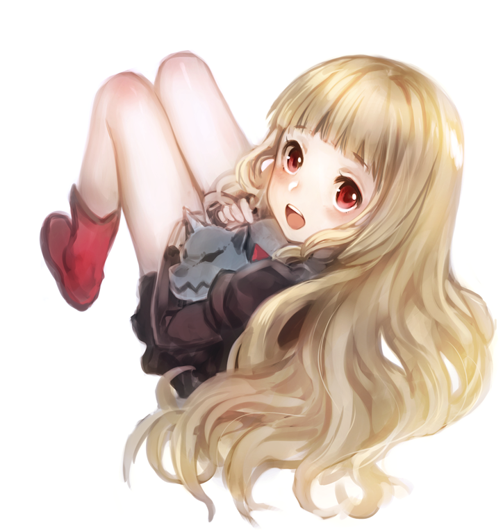 1girl bangs bare_legs blonde_hair blunt_bangs blush boots brown_dress dress eyebrows_visible_through_hair full_body holding holding_stuffed_animal little_red_riding_hood_(sinoalice) long_hair long_sleeves looking_at_viewer open_mouth red_eyes red_footwear short_dress simple_background sinoalice solo stuffed_animal stuffed_dog stuffed_toy teroru upper_teeth white_background