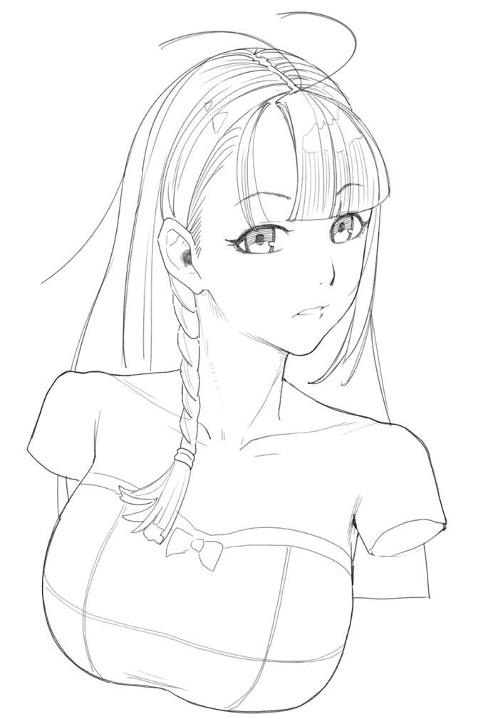 1girl antenna_hair bangs bare_shoulders blunt_bangs bow braid breasts copyright_request cropped_arms dan_evan dress greyscale large_breasts long_hair looking_at_viewer monochrome parted_lips simple_background solo strapless strapless_dress white_background