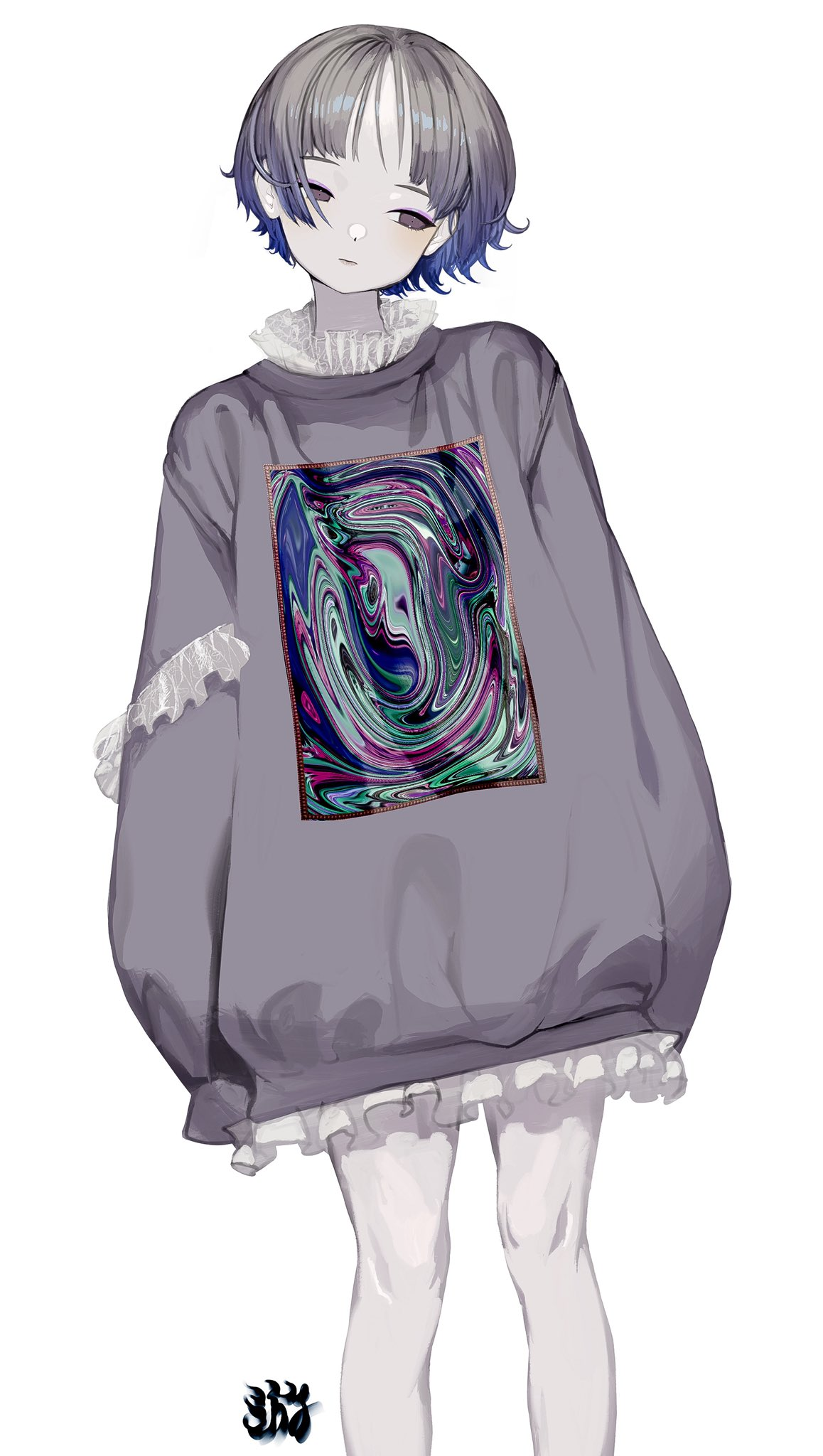 1girl abstract afternooners bare_legs expressionless feet_out_of_frame frills grey_eyes grey_hair grey_sweater highres original print_sweater purple_eyeshadow short_hair simple_background solo sweater white_background