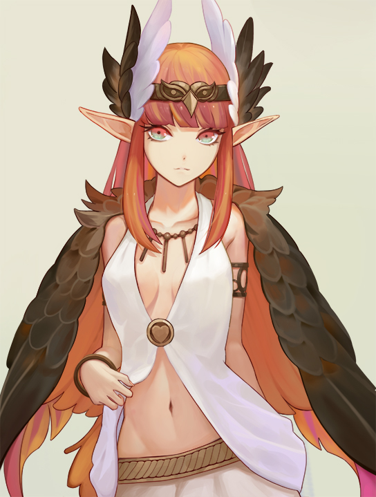 1girl aqua_eyes armlet bangs bare_shoulders belt bracelet breasts brown_wings circe_(fate/grand_order) closed_mouth collarbone fate/grand_order fate_(series) feathered_wings head_wings headpiece jewelry long_hair looking_at_viewer miniskirt multicolored multicolored_eyes navel necklace pink_eyes pointy_ears sidelocks simple_background skirt small_breasts solo white_skirt wifc wings
