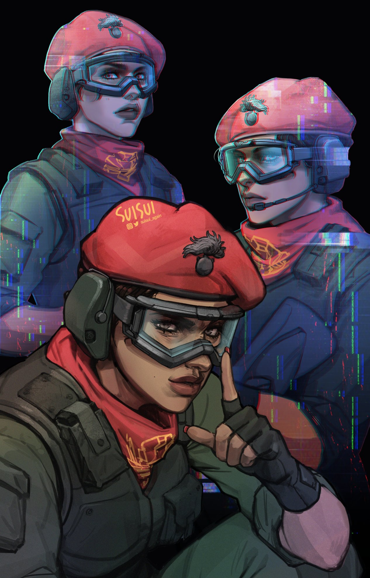 alibi_(rainbow_six_siege) artist_name beret black_hair brown_hair commentary dark_skin ear_protection earmuffs english_commentary fingerless_gloves gloves goggles hat headset highres hologram index_finger_raised lips looking_at_viewer military_operator nail_polish neckerchief nose rainbow_six_siege red_headwear short_hair suisui_again twitter_username