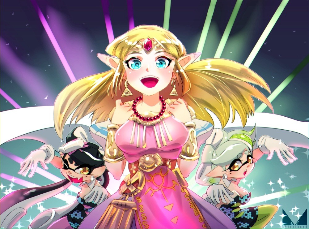 +_+ 3girls :d ;d aori_(splatoon) artist_logo bangs bead_necklace beads black_dress black_hair black_jumpsuit blonde_hair blue_eyes bracer breasts brown_eyes chichi_band circlet commentary company_connection cousins domino_mask dress earrings eyebrows_visible_through_hair fangs food food_on_head gradient_hair green_hair green_legwear grey_hair hotaru_(splatoon) jewelry long_hair looking_at_viewer mask medium_breasts mole mole_under_eye multicolored_hair multiple_girls necklace object_on_head one_eye_closed open_mouth pantyhose pink_dress pointy_ears princess_zelda print_dress purple_hair purple_legwear red_sash short_dress short_jumpsuit sleeveless sleeveless_dress small_breasts smile sparkle splatoon_(series) splatoon_1 squid_pose standing strapless super_smash_bros. sushi tentacle_hair triforce very_long_hair yellow_headwear