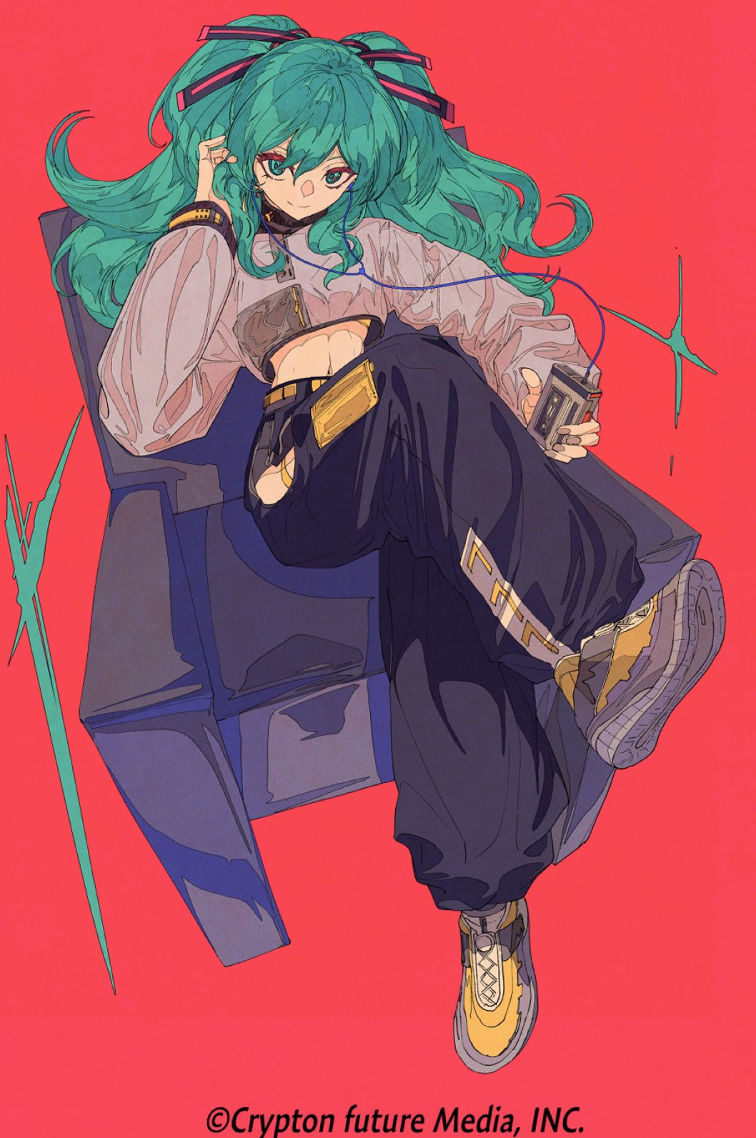 1girl alternate_costume aqua_eyes aqua_hair baggy_pants black_panther chair crop_top crossed_legs english_text flat_color full_body grey_shirt hairband hatsune_miku highres hip_vent kogecha_(coge_ch) ligne_claire long_hair long_sleeves looking_at_viewer midriff navel original panther pants red_background shirt shoes simple_background solo vocaloid