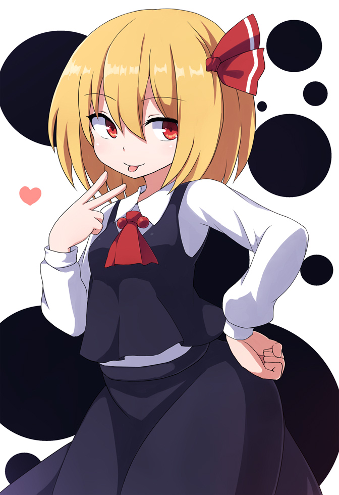 1girl ascot black_skirt black_vest blonde_hair cowboy_shot facing_viewer hair_between_eyes hair_ribbon hand_on_hip heart long_sleeves looking_to_the_side medium_hair red_eyes red_neckwear red_ribbon ribbon rizento rumia shirt simple_background skirt solo tongue tongue_out touhou v vest white_background white_shirt