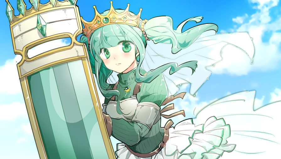 1girl armor bangs belt blue_sky blunt_bangs blush breasts brown_gloves close-up closed_mouth clouds cloudy_sky curly_hair day dot_nose eyebrows_visible_through_hair floating_hair furrowed_eyebrows futaba_sana gloves green_eyes green_hair green_theme holding holding_shield jewelry layered_skirt looking_at_viewer magia_record:_mahou_shoujo_madoka_magica_gaiden mahou_shoujo_madoka_magica medium_breasts necklace outdoors pearl_(gemstone) pearl_hair_ornament ribbed_sweater sadahara_inako shield sidelocks skirt sky solo soul_gem sweater tiara turtleneck turtleneck_sweater twintails upper_body veil waist_cape white_skirt