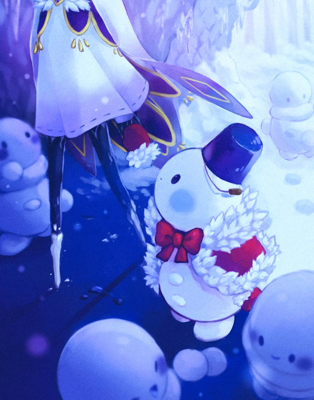 1girl black_eyes blue_headwear blush blush_stickers bow bucket bucket_hat cave cloak closed_mouth fur-trimmed_cloak fur-trimmed_gloves fur_trim gloves hat highres holding_hands icicle looking_at_another masyu_ori open_mouth original outdoors red_bow red_neckwear smile snow snowman tree walking