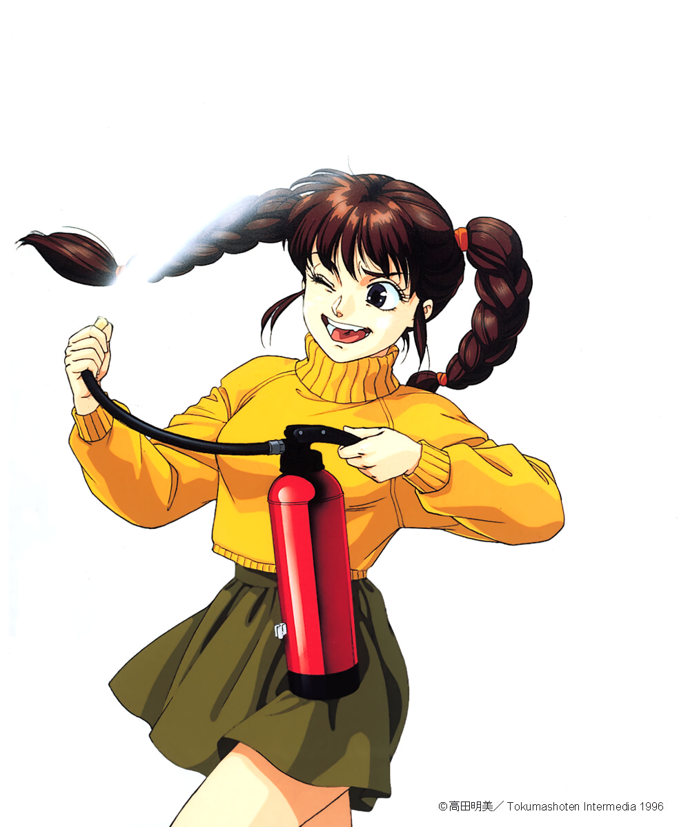 1990s_(style) 1996 1girl black_eyes braid brown_hair copyright cowboy_shot dated fire_hydrant green_skirt holding long_hair long_sleeves open_mouth pc_engine_fan simple_background skirt solo spraying sweater takada_akemi turtleneck twin_braids twintails white_background wince yellow_sweater