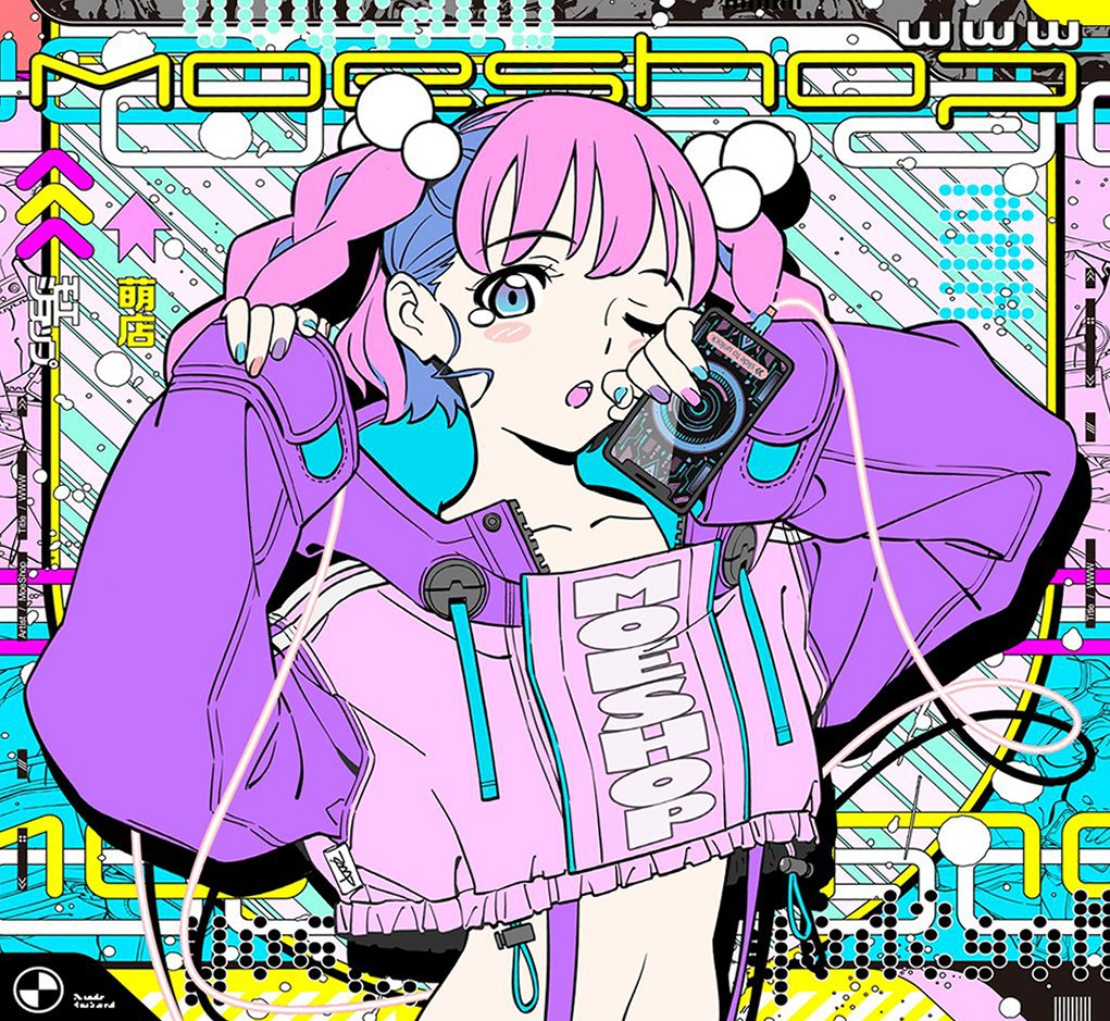 1girl abstract_background aqua_eyes aqua_nails bangs black_nails crop_top gradient_eyes holding holding_phone long_sleeves looking_at_viewer midriff multicolored multicolored_eyes nail_polish one_eye_closed open_mouth orange_nails original phone pink_hair purple_nails sleeves_past_wrists solo tarou2 twintails upper_body