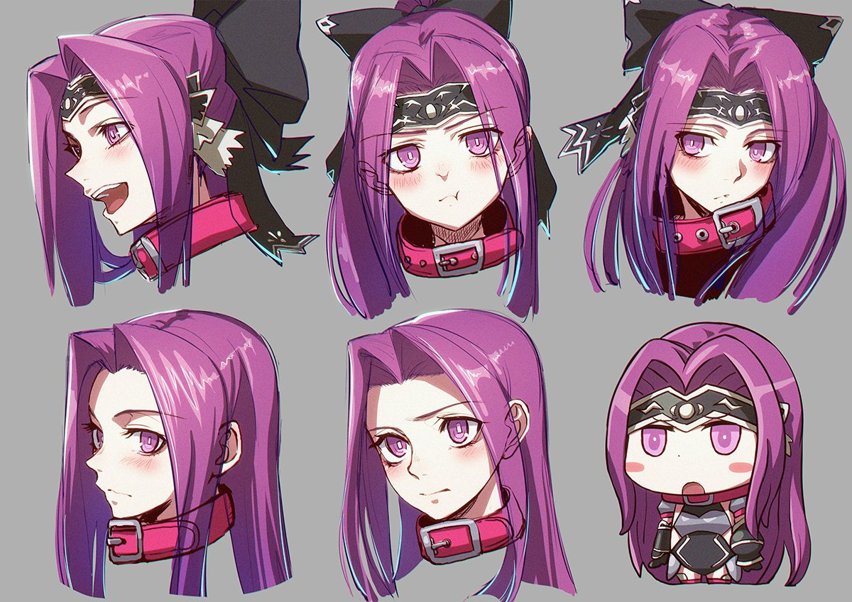 1girl :d :o :t bangs black_bow black_gloves black_leotard blush blush_stickers bow chibi closed_mouth collar commentary_request eyebrows_visible_through_hair fate/grand_order fate_(series) forehead gloves grey_background hair_bow headpiece leotard long_hair looking_at_viewer looking_away medusa_(lancer)_(fate) minami_koyogi multiple_views open_mouth parted_bangs ponytail pout purple_hair red_collar rider riyo_(lyomsnpmp)_(style) simple_background smile vambraces violet_eyes