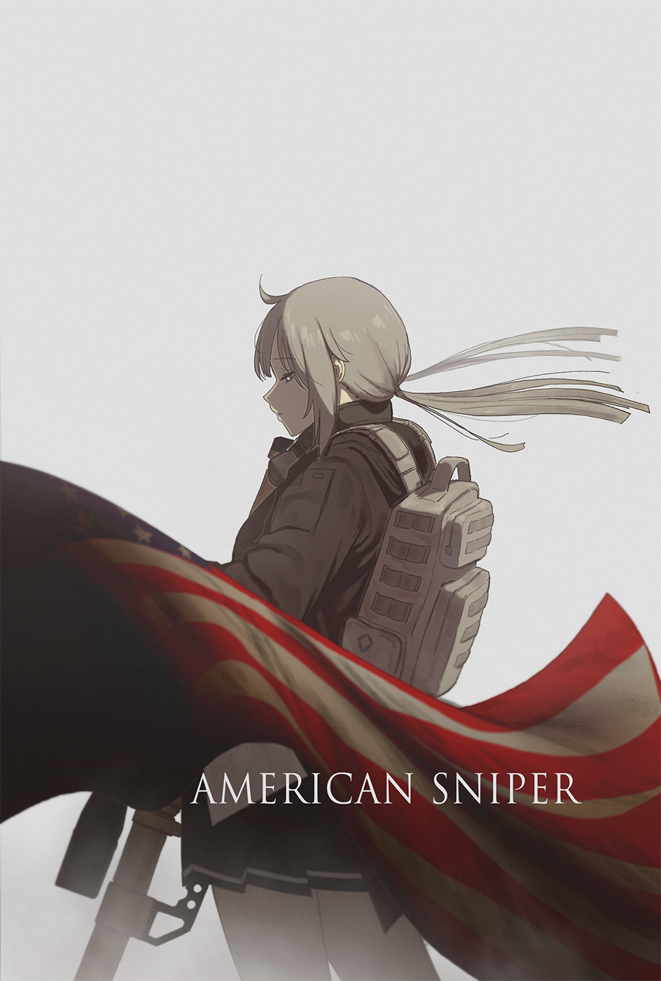 1girl ahoge american_flag anti-materiel_rifle backpack bag bangs black_skirt bolt_action brown_jacket cheytac_m200 cowboy_shot english_text flag from_side girls_frontline gun hair_blowing headphones headphones_around_neck headset highres huqu jacket low_ponytail m200_(girls_frontline) movie_poster movie_reference pleated_skirt rifle scope sidelocks silver_hair skirt sniper_rifle solo weapon white_background