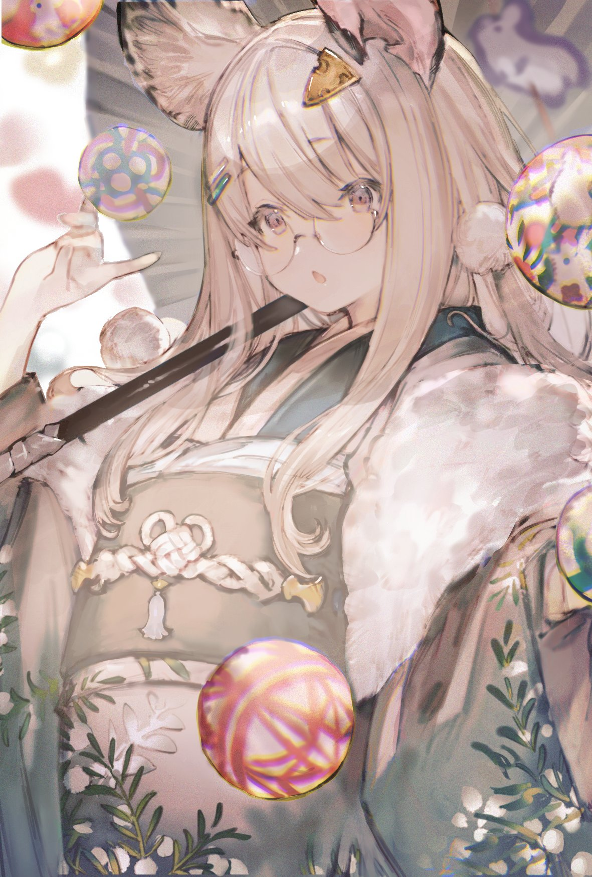 1girl animal_ears ball bangs cheese_hair_ornament chinese_zodiac chromatic_aberration glasses hair_between_eyes hair_ornament hairclip highres japanese_clothes kimono leaf long_hair long_sleeves mono_(monoia14) mouse_ears obi open_mouth original pink_eyes plant sash solo upper_body white_hair wide_sleeves year_of_the_rat