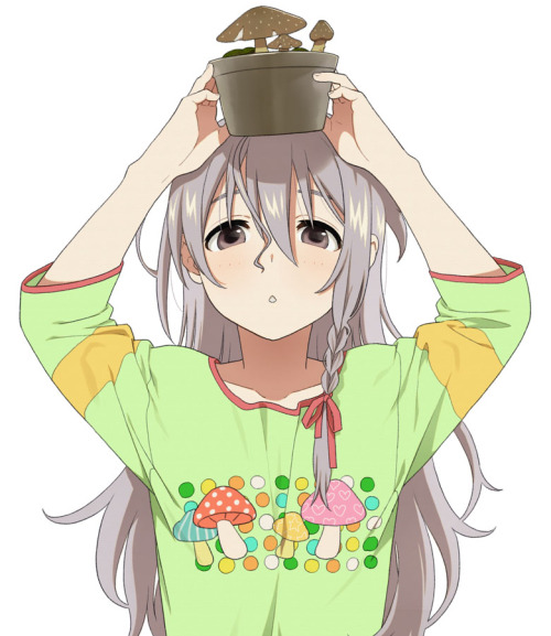 1girl :o arms_up bangs blush braid brown_eyes eyebrows_behind_hair food_print green_shirt grey_hair hair_between_eyes hair_ribbon holding hoshi_shouko idolmaster idolmaster_cinderella_girls long_hair long_sleeves mattaku_mousuke mushroom mushroom_print parted_lips red_ribbon ribbon shirt simple_background solo upper_body very_long_hair white_background