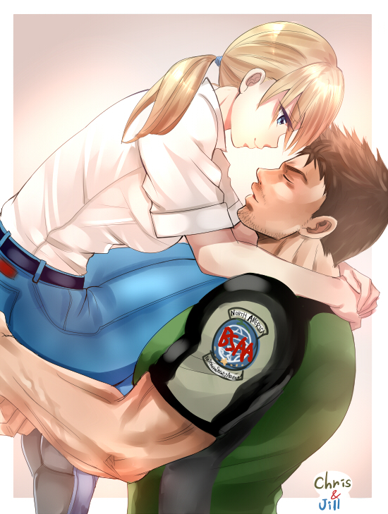 1boy 1girl beard belt black_belt blonde_hair blue_eyes breasts brown_hair chris_redfield closed_mouth collared_shirt couple denim dress_shirt eyebrows_visible_through_hair face-to-face facial_hair green_shirt hetero jeans jill_valentine long_hair long_sleeves looking_at_another medium_breasts muscle nagare pants resident_evil resident_evil_5 shirt short_sleeves sleeves_rolled_up smile t-shirt