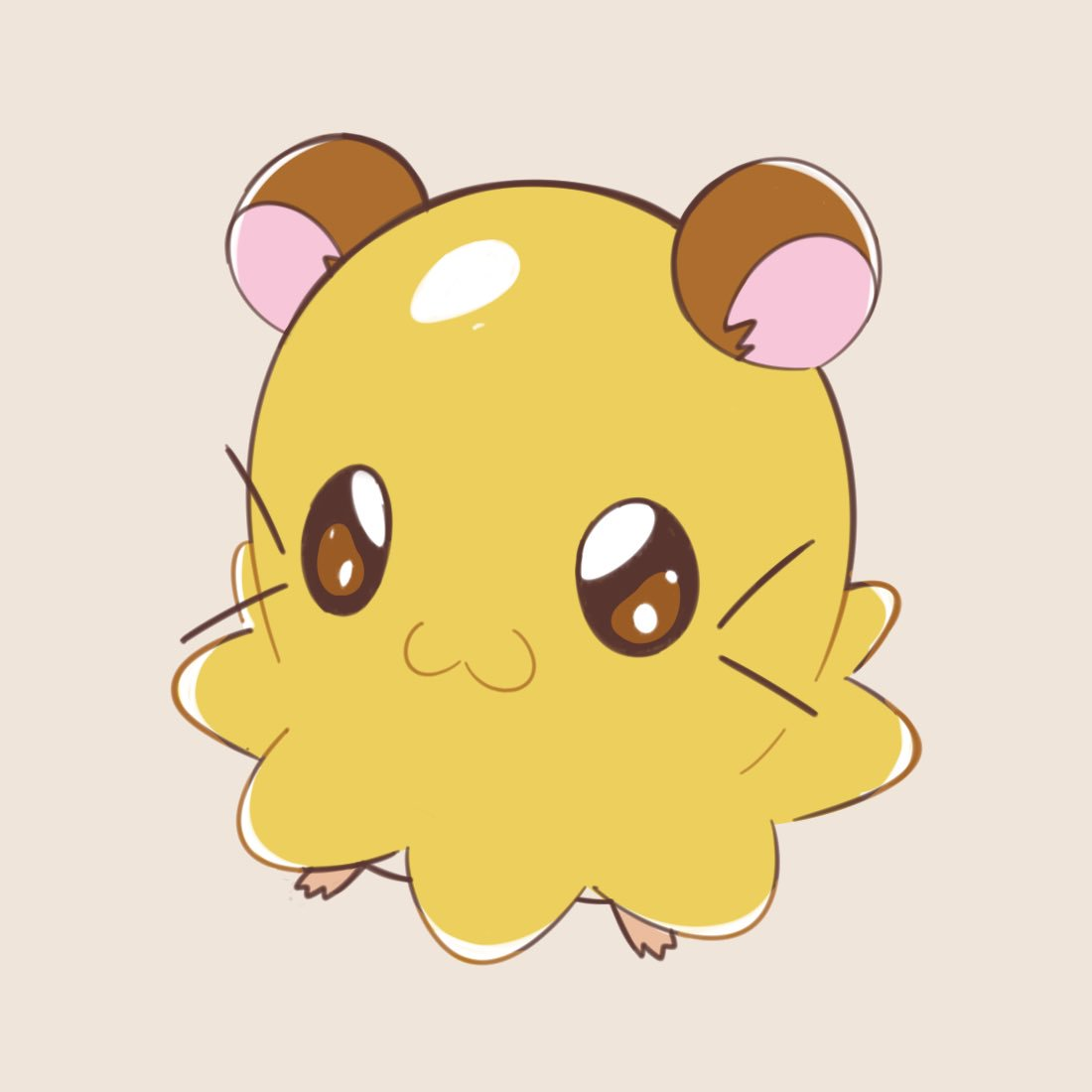 :3 artsy-rc brown_eyes chibimaru-chan closed_mouth commentary english_commentary full_body hamster hamtaro looking_at_viewer no_humans simple_background smile standing whiskers white_background
