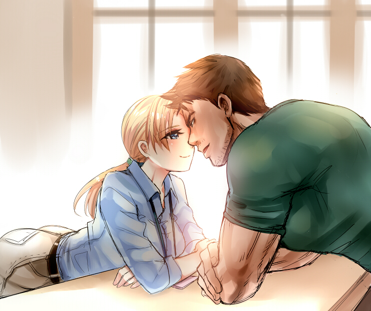 1boy 1girl arched_back ass beard belt black_belt blonde_hair blue_eyes blue_shirt blush breasts brown_hair chris_redfield closed_mouth collared_shirt couple crossed_arms dress_shirt eye_contact eyebrows_visible_through_hair face-to-face facial_hair green_shirt indoors jill_valentine large_breasts light_blush long_hair long_sleeves looking_at_another medium_breasts muscle nagare pants parted_lips partially_unbuttoned resident_evil resident_evil_5 shirt short_sleeves sleeves_rolled_up smile t-shirt window