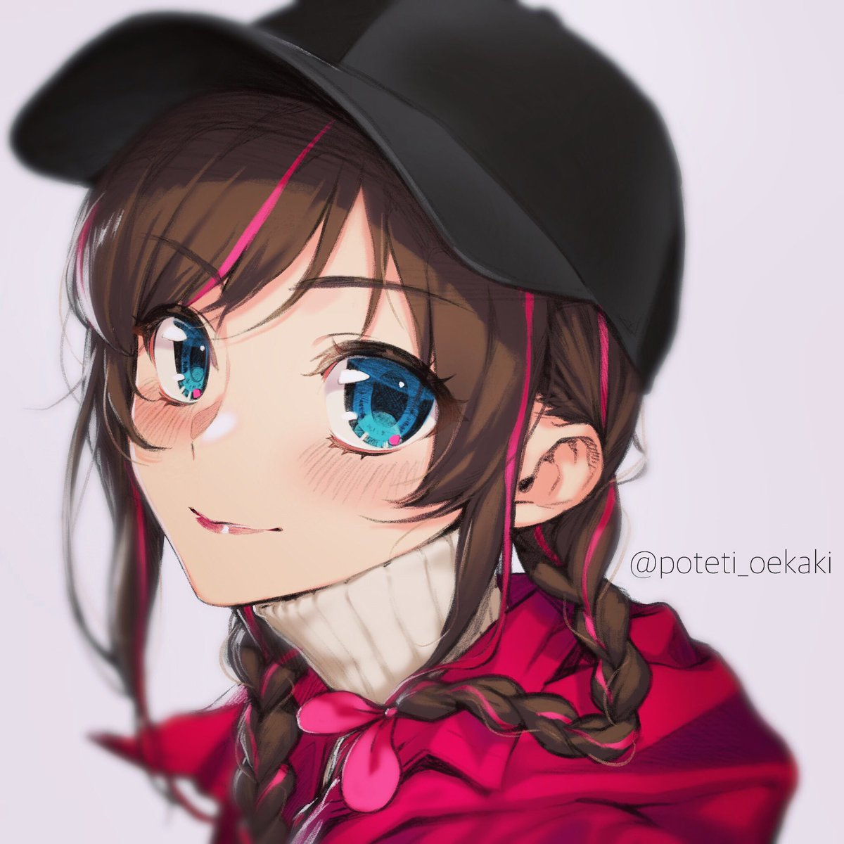 1girl a.i._channel alternate_costume alternate_hairstyle artist_name baseball_cap black_headwear blue_eyes blurry blush braid brown_hair closed_mouth depth_of_field eyebrows_visible_through_hair eyelashes grey_background hat highres jacket kizuna_ai lips long_hair looking_at_viewer multicolored_hair pink_hair portrait poteti red_jacket ribbed_sweater simple_background smile solo streaked_hair sweater turtleneck turtleneck_sweater twin_braids twitter_username two-tone_hair virtual_youtuber