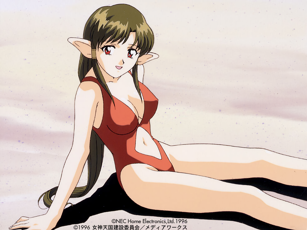 1990s_(style) 1996 anjela brown_hair copyright copyright_name dated hair_tubes long_hair megami_paradise navel_cutout official_art on_grass one-piece_swimsuit open_mouth pointy_ears red_eyes red_swimsuit sand sitting swimsuit