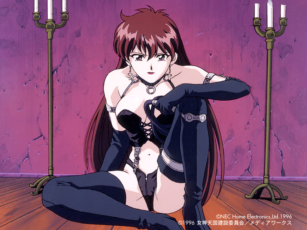 1990s_(style) 1996 1girl black_footwear black_gloves bondage_outfit boots brown_eyes brown_hair candle copyright copyright_name cross cross_earrings dated dominatrix earrings elbow_gloves gloves hand_on_own_knee holding_whip jewelry juliana_(megami_paradise) long_hair looking_at_viewer megami_paradise navel official_art on_floor sitting solo thigh-highs thigh_boots