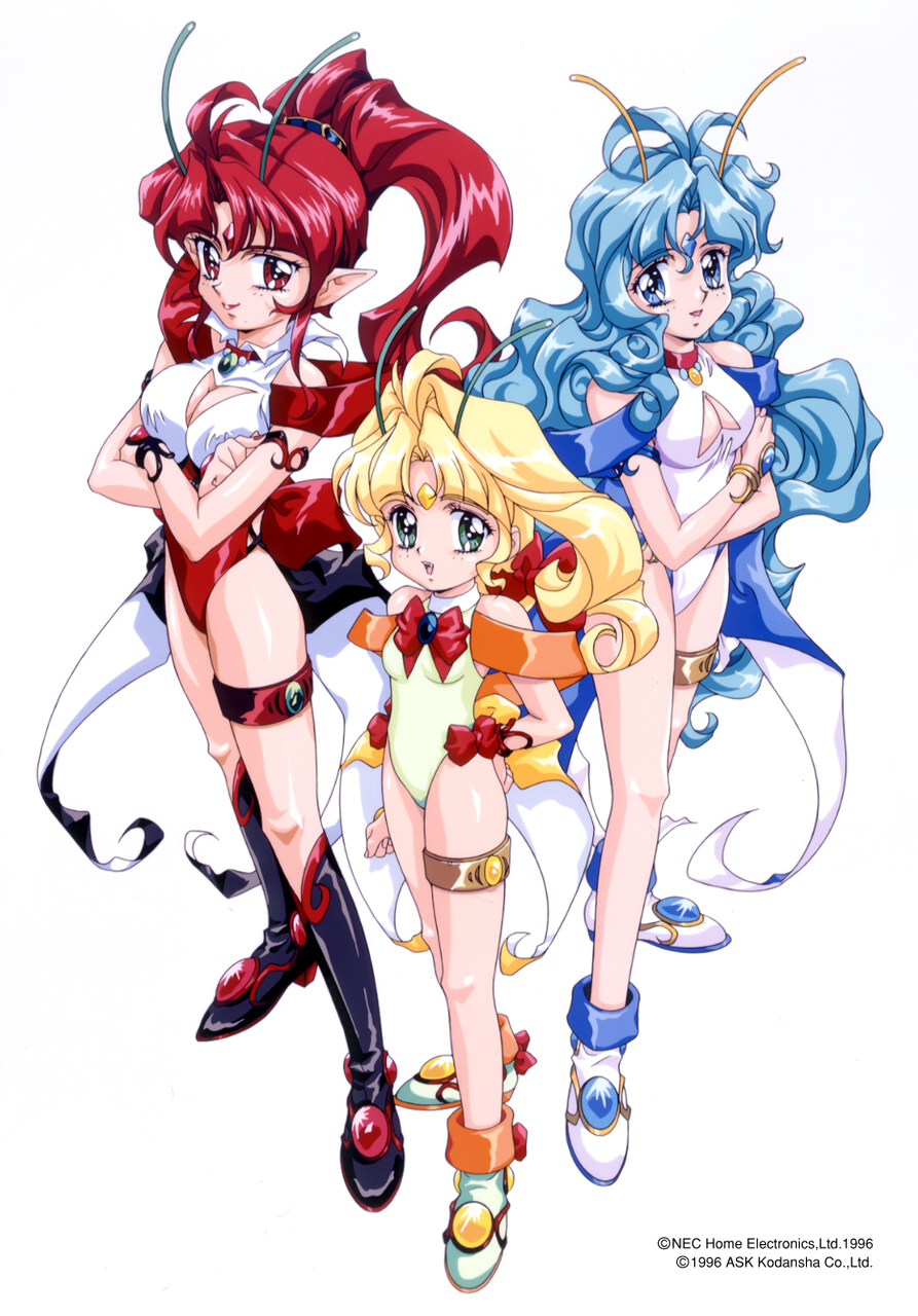 1990s_(style) 1996 antennae blonde_hair blue_eyes boots bracelet cinnamon_(voice_paradise) citron_(voice_paradise) cleavage_cutout coattails copyright copyright_name crossed_arms dated facial_mark forehead_mark green_eyes hands_on_hips high_ponytail highres jasmine_(voice_paradise) jewelry knee_boots leotard light_blue_hair lipstick long_hair looking_at_viewer makeup official_art open_mouth pointy_ears red_eyes redhead simple_background standing sugiyama_genshou thighlet voice_paradise white_background