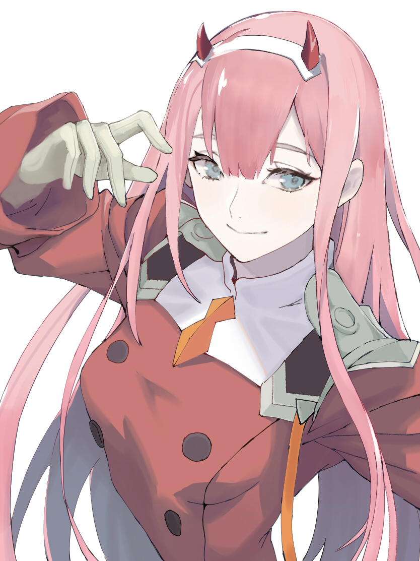 1girl arm_up bangs blue_eyes breasts closed_mouth darling_in_the_franxx eyebrows_behind_hair ganida_boushoku gloves grey_gloves hair_between_eyes horns jacket long_hair long_sleeves looking_at_viewer orange_neckwear pink_hair red_jacket simple_background small_breasts smile solo upper_body very_long_hair white_background zero_two_(darling_in_the_franxx)