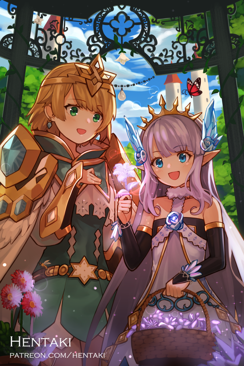 2girls :d animal artist_name bare_shoulders basket bee black_flower blue_eyes blush brown_hair bug butterfly character_request commentary crystal day dragalia_lost dress earrings english_commentary fingerless_gloves flower gloves green_dress green_eyes hair_ornament hand_on_own_chest hand_up headpiece hentaki highres holding holding_basket holding_flower ice insect jewelry long_hair multiple_girls open_mouth outdoors pointy_ears purple_flower purple_hair red_flower sleeveless sleeveless_dress smile tiara tower vambraces very_long_hair watermark web_address white_dress white_flower