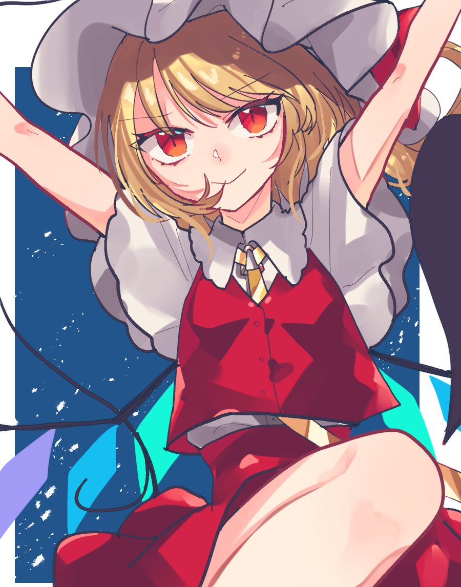 1girl \o/ arms_up blonde_hair blue_background commentary_request crystal flandre_scarlet hat hat_ribbon knee_up looking_at_viewer medium_hair miko_(miko030751) mob_cap necktie outstretched_arms red_eyes red_ribbon red_skirt red_vest ribbon shirt short_sleeves side_ponytail skirt slit_pupils smile solo touhou upper_body vest white_headwear white_shirt wings yellow_neckwear