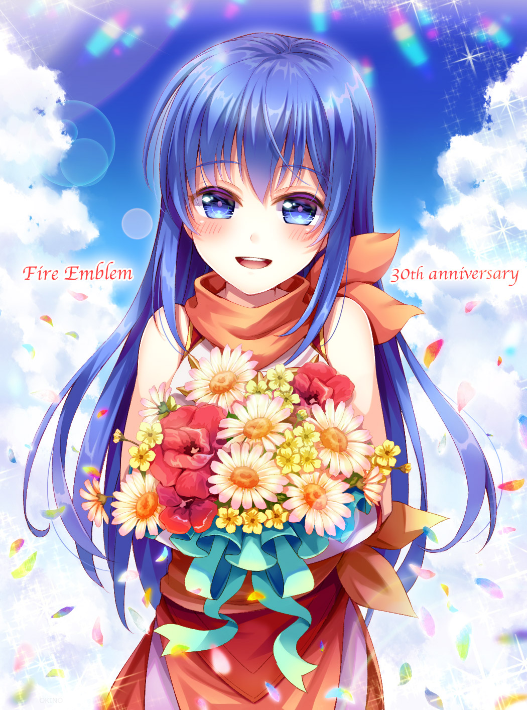 1girl anniversary blue_eyes blue_hair blue_sky bouquet caeda_(fire_emblem) child clouds copyright_name cute fire_emblem fire_emblem:_monshou_no_nazo fire_emblem:_monshou_no_nazo_(anime) fire_emblem:_mystery_of_the_emblem fire_emblem:_mystery_of_the_emblem_ova fire_emblem:_shin_ankoku_ryuu_to_hikari_no_tsurugi fire_emblem_11 fire_emblem_3 fire_emblem_heroes fire_emblem_shadow_dragon flower highres holding if_oki intelligent_systems long_hair nintendo open_mouth petals sheeda sky sleeveless solo younger