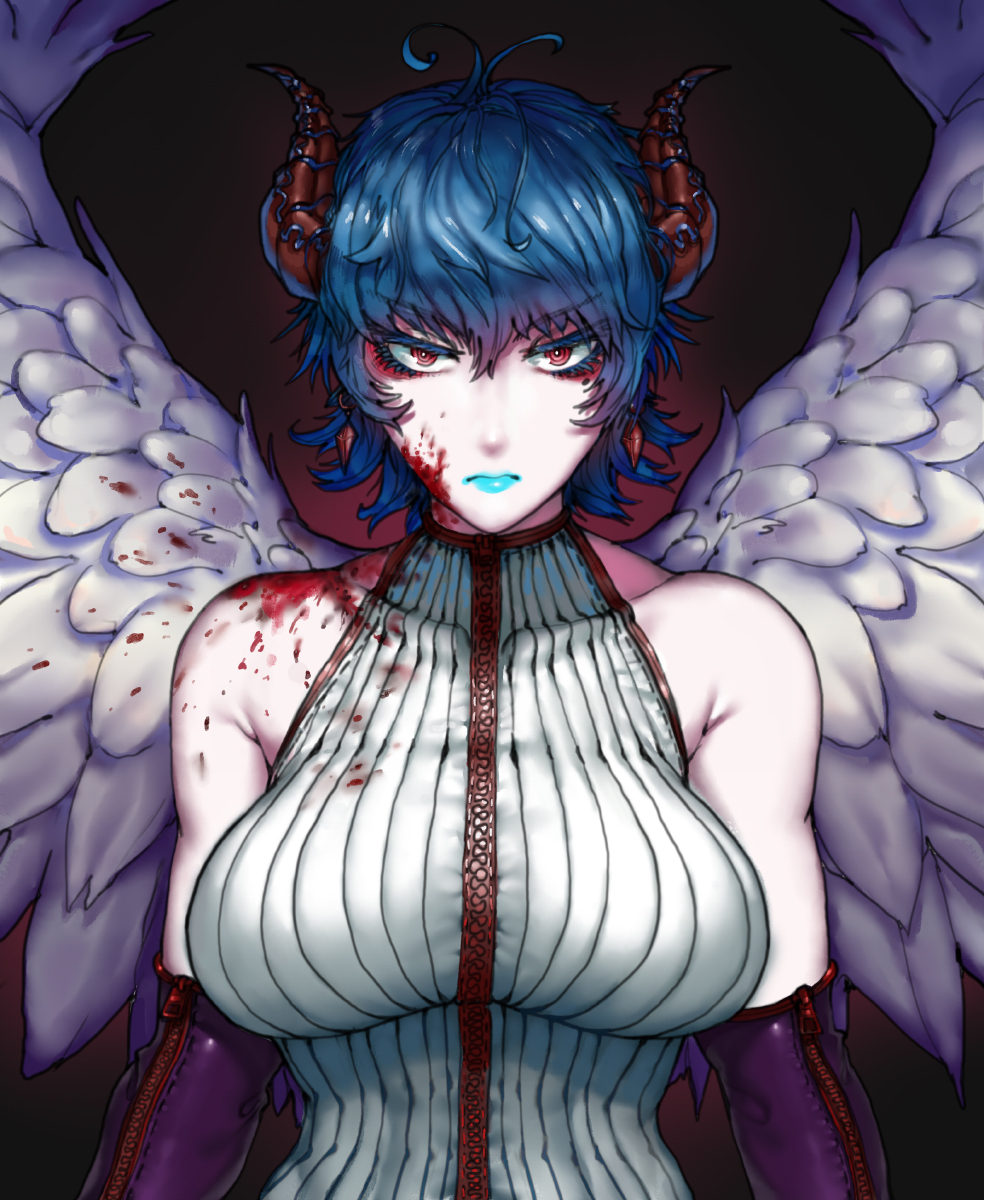 1girl blood blue_hair blue_lips blue_lipstick breasts closed_mouth commentary elbow_gloves english_commentary eyeshadow feathered_wings gloves highres horns large_breasts lipstick looking_at_viewer makeup original red_background red_eyes ribbed_sweater ringed_eyes short_hair solo spread_wings sweater the_golden_smurf wings
