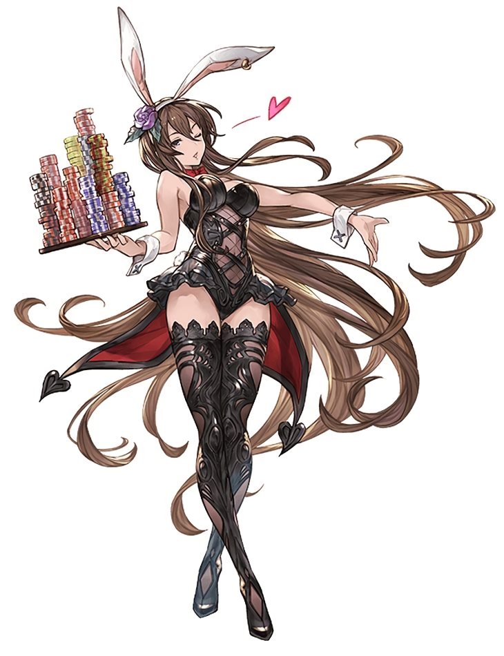 1girl animal_ears black_legwear black_leotard boots brown_eyes brown_hair bunny_tail coattails detached_collar fake_animal_ears full_body granblue_fantasy heart holding holding_tray leotard long_hair minaba_hideo one_eye_closed poker_chip rabbit_ears simple_background solo tail thigh-highs thigh_boots tray very_long_hair white_background wrist_cuffs