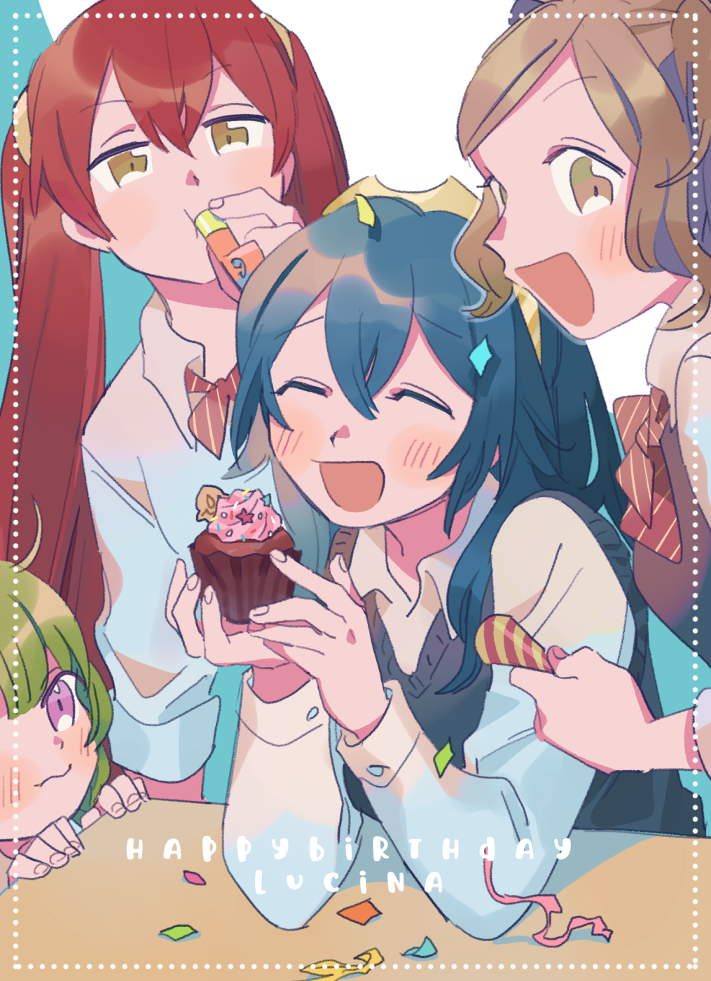 4girls ahoge alternate_costume birthday blue_hair blush bow brown_eyes brown_hair character_name closed_eyes closed_mouth commentary confetti cupcake cynthia_(fire_emblem) english_commentary english_text eyebrows_visible_through_hair fire_emblem fire_emblem_awakening food green_hair hair_ornament happy_birthday highres holding holding_food long_hair looking_at_viewer lucina lucina_(fire_emblem) multiple_girls nah_(fire_emblem) oneroom-disco open_mouth party_horn party_popper red_bow redhead school_uniform severa_(fire_emblem) shirt short_hair smile tiara twintails uniform vest violet_eyes white_shirt