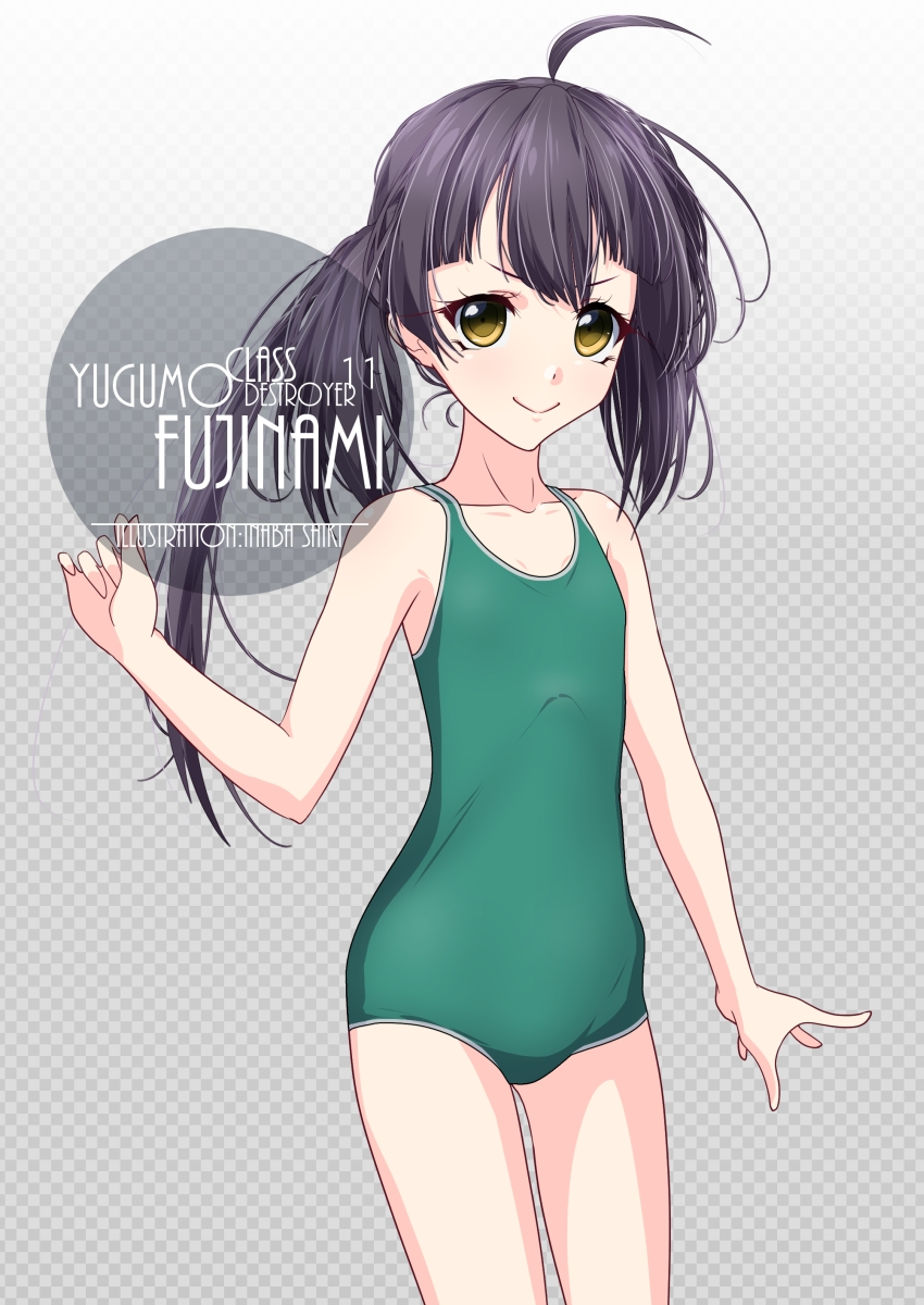 1girl ahoge artist_name asymmetrical_bangs bangs black_hair character_name checkered checkered_background commentary_request cowboy_shot flat_chest fujinami_(kantai_collection) gradient gradient_background green_swimsuit grey_background highres inaba_shiki kantai_collection long_hair looking_at_viewer new_school_swimsuit school_swimsuit side_ponytail smile solo swimsuit yellow_eyes