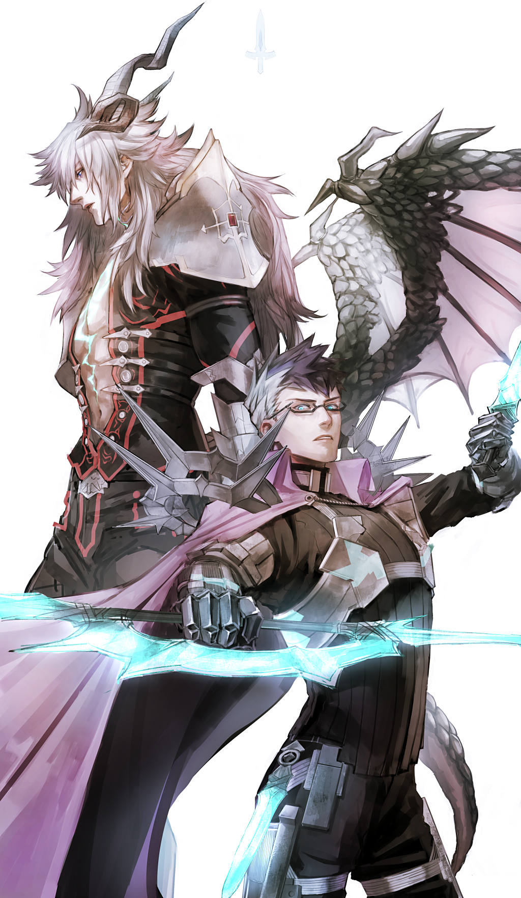 2boys abs armor bangs blue_eyes blue_hair cape chest dark_skin dark_skinned_male fate/apocrypha fate/grand_order fate_(series) fighting_stance glasses green_eyes highres horns kuroda_matsurika long_hair looking_at_viewer male_focus mini_wings multicolored_hair multiple_boys open_mouth pectorals platinum_blonde_hair revealing_clothes short_hair shoulder_armor shoulder_spikes siegfried_(fate) sigurd_(fate/grand_order) simple_background spikes spiky_hair sword weapon white_hair wings