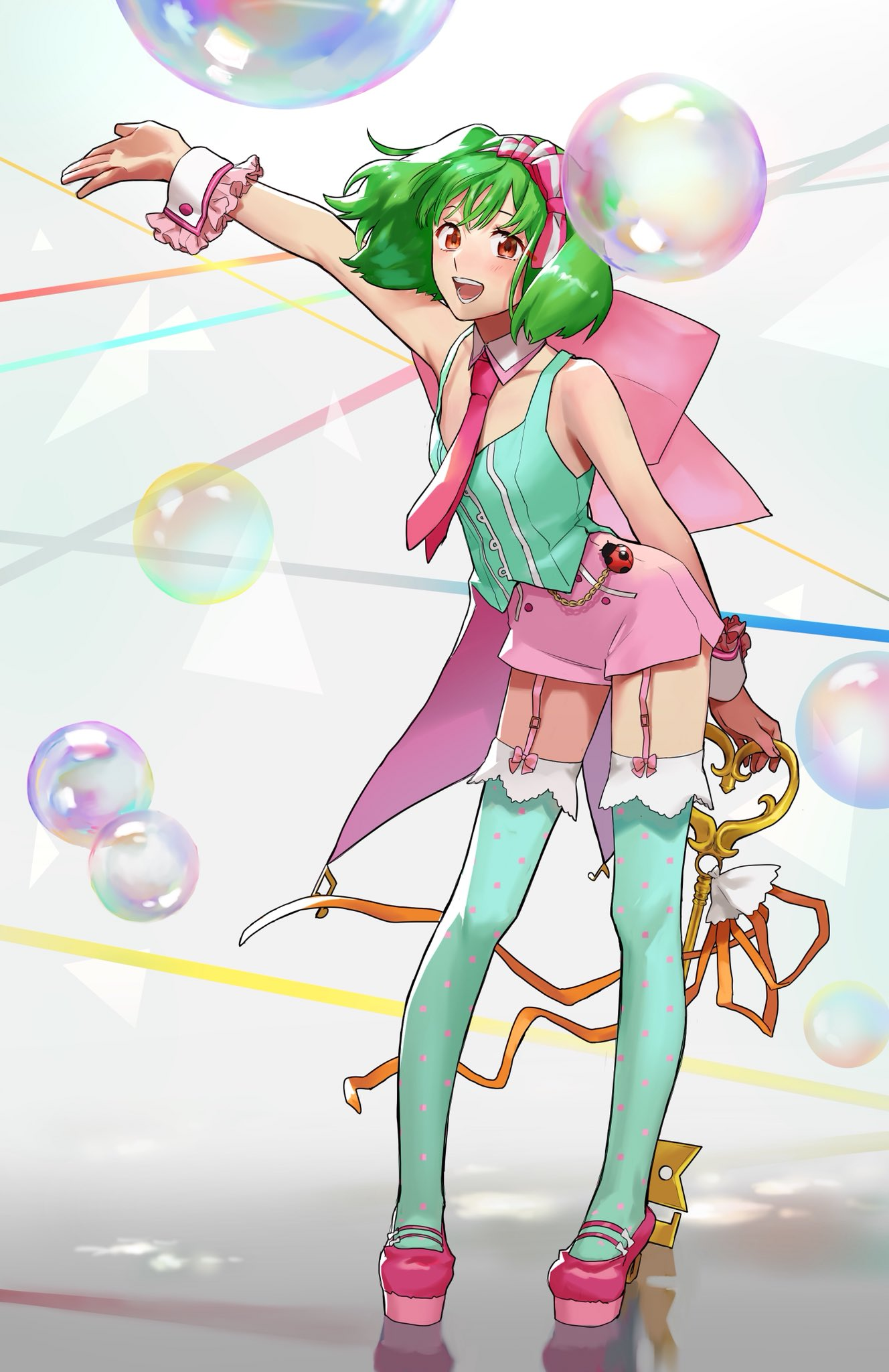 1girl arm_up armpits bare_shoulders bow breasts bubble coattails contrapposto detached_collar frilled_cuffs frills full_body garter_straps green_hair green_shirt hairband high-waist_shorts high_heels highres holding legs looking_at_viewer macross macross_frontier macross_frontier:_sayonara_no_tsubasa necktie open_mouth pink_bow pink_footwear platform_footwear platform_heels pote-mm ranka_lee red_eyes ribbon shirt short_hair short_shorts shorts small_breasts smile solo standing thigh-highs wind wind_lift wrist_cuffs