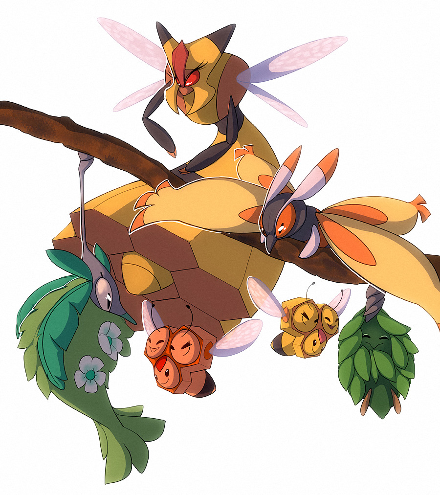 ^_^ black_eyes burmy burmy_(plant) closed_eyes combee commentary creature english_commentary facing_another facing_viewer flying francis_lumanog full_body gen_4_pokemon looking_at_another no_humans pokemon pokemon_(creature) simple_background vespiquen white_background wormadam wormadam_(plant)