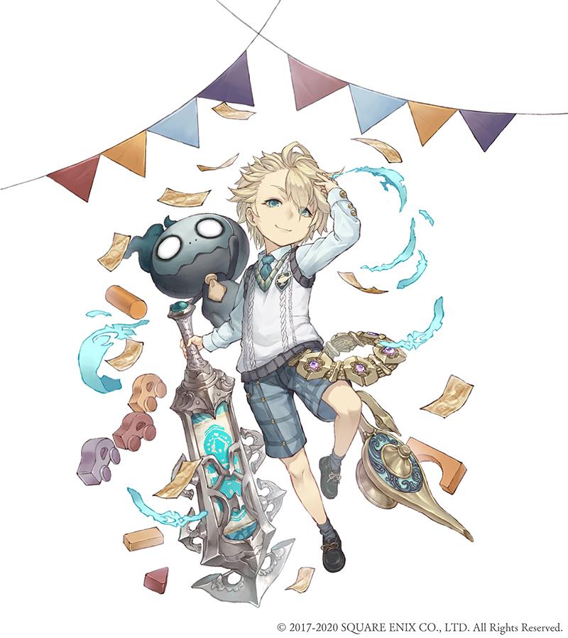 1boy aladdin_(sinoalice) blonde_hair blue_eyes building_block chain full_body gold_chain hair_over_one_eye ji_no looking_at_viewer money necktie nightmare_(sinoalice) official_art oil_lamp plaid plaid_shorts shorts sinoalice solo square_enix string_of_flags sword toy_car vest weapon white_background younger