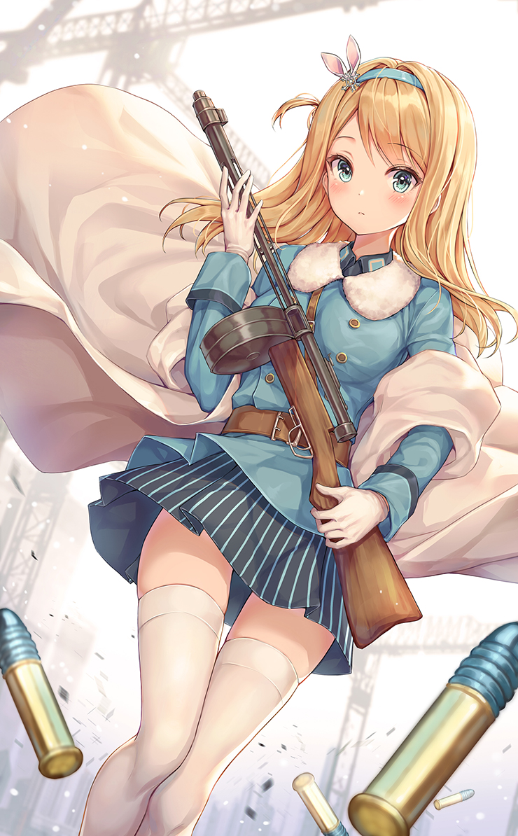 1girl belt black_skirt blonde_hair blue_eyes blue_shirt breasts bullet buttons girls_frontline gloves gun hair_ornament hairband holding holding_gun holding_weapon long_hair long_sleeves looking_at_viewer medium_breasts miniskirt one_side_up pleated_skirt r_o_ha shirt skirt solo striped striped_skirt submachine_gun suomi_kp/-31 suomi_kp31_(girls_frontline) thigh-highs weapon white_gloves white_legwear zettai_ryouiki