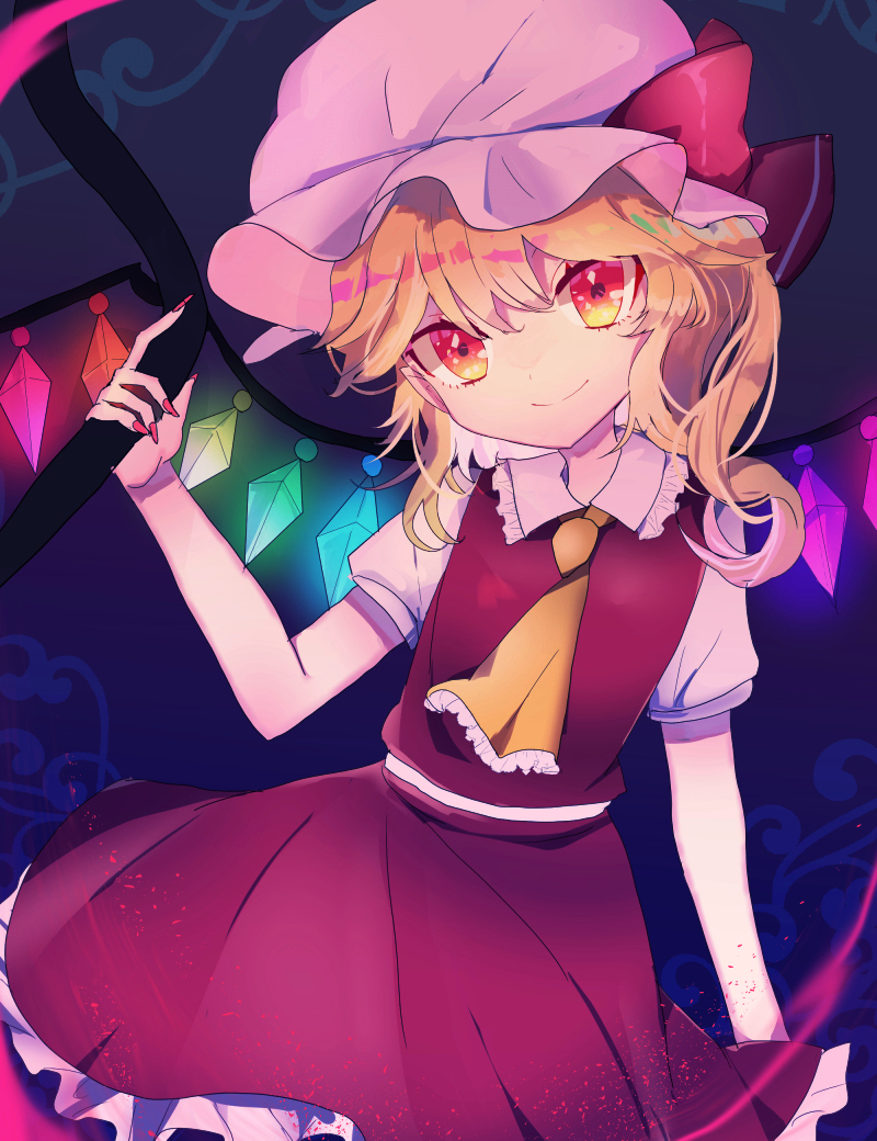 1girl bangs blonde_hair bow closed_mouth collar collared_dress crystal dress flandre_scarlet frilled_collar frilled_dress frills gem glowing glowing_crystal hat hat_bow holding looking_at_viewer medium_hair mob_cap multicolored multicolored_eyes multicolored_wings necktie pink_headwear red_bow red_dress red_eyes red_nails short_sleeves smile solo standing touhou tsukikusa wings yellow_eyes yellow_neckwear