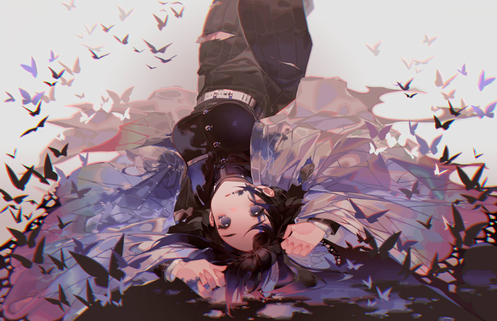 1girl belt black_hair breasts bug butterfly butterfly_hair_ornament buttons cowboy_shot cuts death empty_eyes gradient_hair grey_background hair_ornament hands_up haori injury insect japanese_clothes kawacy kimetsu_no_yaiba knees_up kochou_shinobu long_sleeves looking_at_viewer lying medium_breasts multicolored_hair on_back pants parted_lips pleated_shorts poison purple_hair smeared_blood solo tears torn_clothes torn_pants uniform upside-down violet_eyes