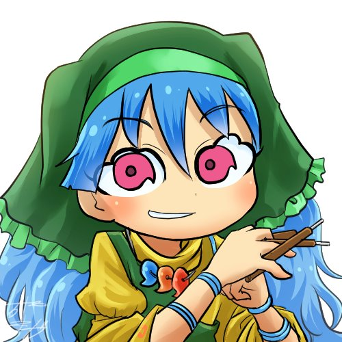 1girl apron avatar_icon between_fingers blue_hair bracer chamaji chisel commentary dress eyebrows_visible_through_hair green_apron green_hood hair_between_eyes haniyasushin_keiki head_scarf long_hair looking_at_viewer lowres magatama magatama_necklace red_eyes signature smock solo tools touhou upper_body white_background wood_carving_tool yellow_dress