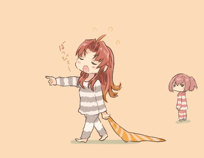 2girls ahoge alternate_hairstyle beige_background brown_hair closed_eyes commentary_request full_body hair_down kagerou_(kantai_collection) kantai_collection long_hair multiple_girls otoufu pants pink_hair pointing ponytail shiranui_(kantai_collection) short_hair simple_background sleepwalking sleepwear solo_focus striped striped_pants striped_sweater sweater